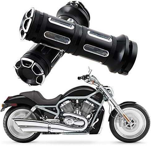 /13 Handlebar Grips Moto Rubber Chrome Harley Davidson 96/