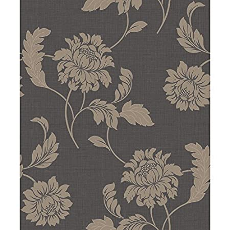 Rasch Sienna Floral Motif Flower Pattern Glitter Embossed Textured Wallpaper Black Gold 304824