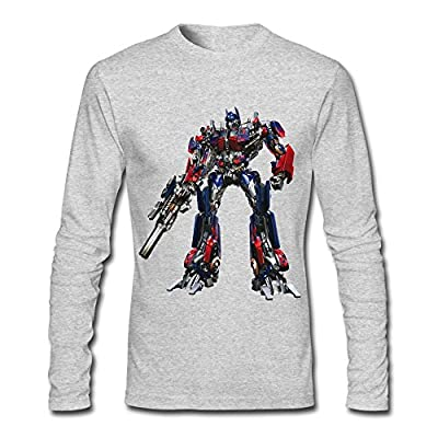 HEJX Man Optimus Prime Transformer Design Long Sleeves T-Shirt HeatherGray