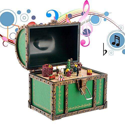 BESTOYARD Divertido Mini Caja de música Estilo Cofre de Navidad Caja de música Decoración de Regalo de Navidad (Verde)