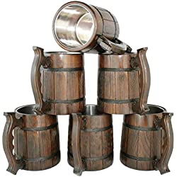 Wooden Beer Mug Set 20 oz - Handmade Coffee Drinking Cup Case - Groomsmen Medieval Pint Wood Stein - Big Craft Tavern Tankard with Handle - Best Men Asking Gift Idea - Unique Wedding Party Accessories