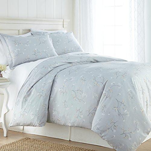 Southshore Fine Linens - BRITEYARN - Myosotis Scorpiodes Print - 300 TC 100% Cotton Duvet Cover Set, Grey, King/California King (Cottage Linen Bed Country Collection)