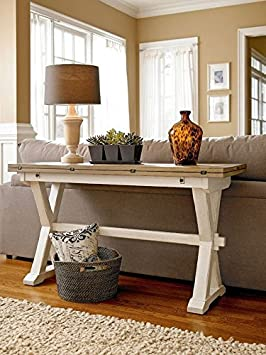 Universal Furniture 128816 Rooms Drop Leaf Console Table, Terrace Gray and Washed Linen