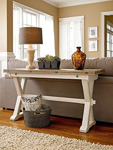 Universal Furniture Rooms Drop Leaf Console Table, Terrace Gray and Washed linen