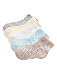 Evelin LEE Unisex Baby Todler Soft Breathable Organic 5 Pack Cotton Socks