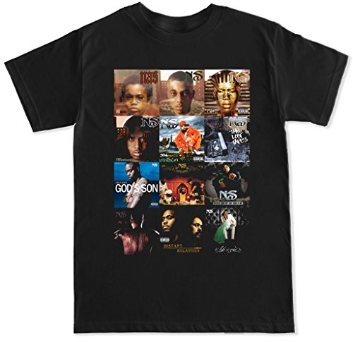 (FTD Apparel Men's Nas Album Covers T Shirt - XL Black)