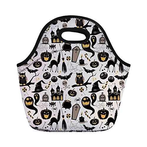 Vintage Halloween Durable Lunch Bag,Halloween Cartoon Jack o Lantern Tombstone Skulls and Bones Decorative for School Office,11.0