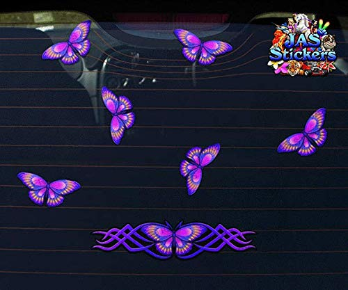 JAS Stickers/® BUTTERFLY ANIMAL CAR DECAL ST021PL/_1 Purple Small Vinyl Stickers Pack For Laptop Bicycle Jetski Caravan