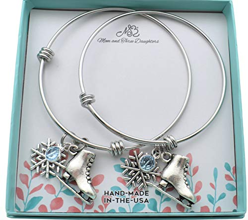 Mother Daughter Ice Skating Bangle Bracelets set in stainless steel. Ice skater gifts. Ice skating bracelet. Mother Daughter Bracelet Set.