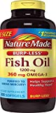 Cheap Nature Made Burpless Fish Oil 1200 mg  w. Omega-3 360 mg Softgels Value Size 200 Ct