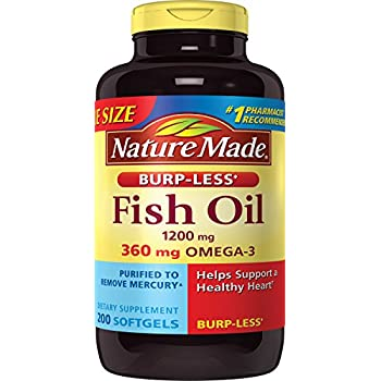 Nature Made Burpless Fish Oil 1200 mg w. Omega-3 360 mg Softgels Value Size 200 Ct