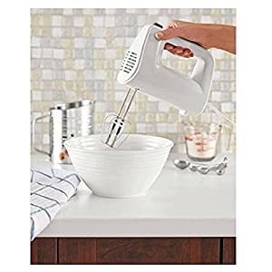 Electric Hand Mixer with Removable Beaters, 5 Speeds with Bowl Rest Support, for Beating, Blending, Whippig & Mixing, White