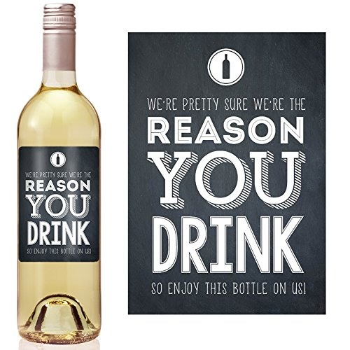 Chalk Reason You Drink Wine Label - set of 4 - Exactly as shown