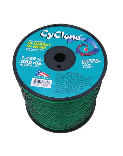 Cyclone .080-Inch 3-Pound Spool Commercial Grade 6-Blade Grass Trimmer Line, (Trimmer Line Green)