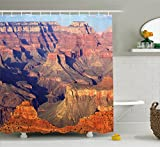 Ambesonne House Decor Shower Curtain by, Epic South West Canyon Before Sunrise Tribal Ethnic National Landmark Wilderness, Fabric Bathroom Decor Set with Hooks, 75 Inches Long, Brown
