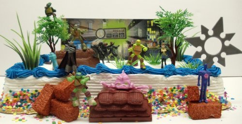Teenage Mutant Ninja Turtles 25 Piece Birthday Cake Topper Set Featuring Sensei Splinter, Donatello, Leonardo, Raphael, Michelangelo, April, Shredder, Kraang and Themed Decorative Accessories - Cake Topper Set Includes All Items Shown