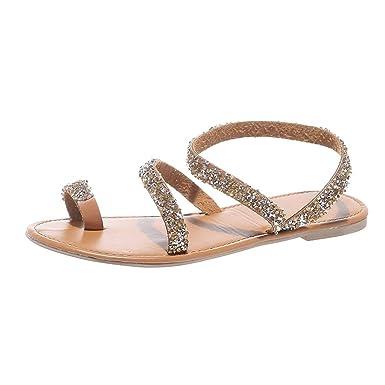 Sandalias De Las Mujeres, Resplend Verano Moda Mujeres Cruz Sandalias Puntera Zapatos Planos Diamantes Brillantes Zapatillas Casual Sandalias Bohemias: ...