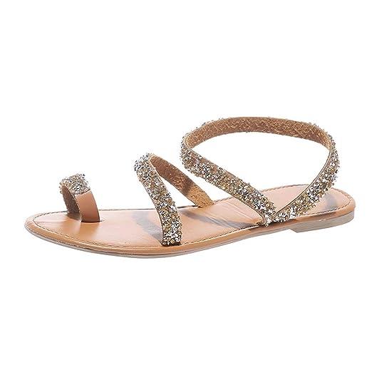 77d2bb8329cd Tsmile Women Sandals Boho Cross Sandals Summer Flat Shoes Bright Diamond  Slippers Casual Beach Sandals Brown