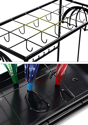 DNSJB Hotel Lobby Iron Umbrella Stand with Hooks/Drip Tray European Household Canes/Walking Stick Stand Storage Holder Rack Personality Creative Long/Short Umbrella Stands Storage Shelf,502570cm by DNSJB umbrella stand (Image #4)