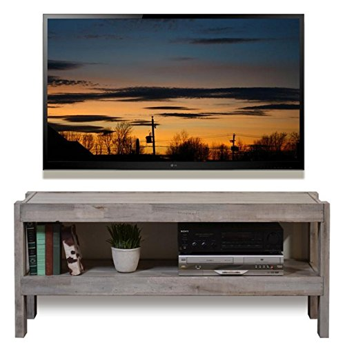 Gray Beach House Coastal Reclaimed Wood TV Stand - presEARTH Driftwood (Beach House Pedestal)