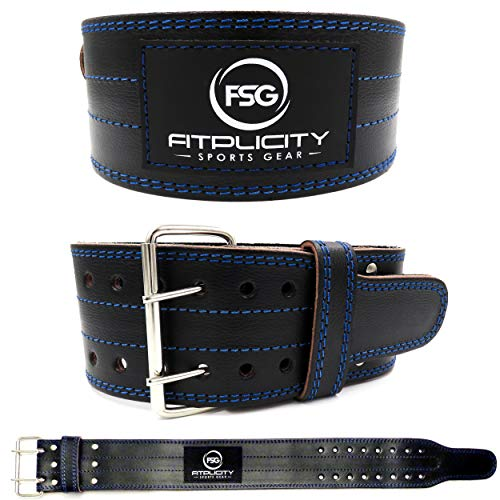 Fitplicity Genuine Leather Pro Weight Lifting Belt Men Women – Weightlifting, Olympic Lifting, Powerlifting, Squats and Deadlifts, 4 Inch Stabilizing Back Support