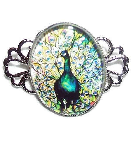 PEACOCK BIRD BROOCH PIN Stained Glass Illustration Silver Pltd