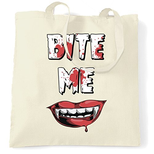 Bite Me Vampire Halloween Spooky Creepy Drink Blood Pun Shopping Tote Bag by Valentine Herty. ()