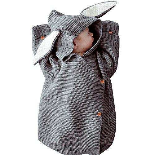 MiMiXiong Newborn Baby Knit Sleeping Bags Bunny Easter Gift Toddler Wearable Swaddle Sleep Sack (Grey-Bunny)
