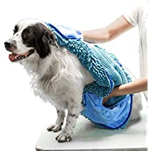 Tuff Pupper Large Dog Shammy Towel | Ultra Absorbent | Durable 35 x 15 Size for Dogs of All Breeds | Quick Drying Chenille Fabric | Designed for Indoor and Outdoor Use | Machine Washable