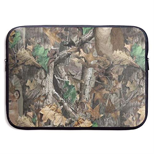 YuanQuann Realtree Camo Wallpapers 13-15 Inch Laptop Sleeve Bag Portable Dual Zipper Case Cover Pouch Holder Pocket Tablet Bag, Water Resistant, Black ()