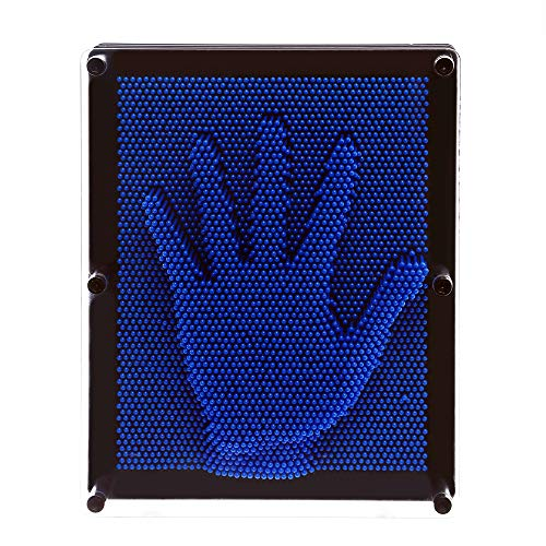 E-FirstFeeling 3D Pin Art Sculpture Extra Large 10'' X 8'' Pin Impression Hand Mold Board Toy Gift - Blue by E-FirstFeeling (Image #2)