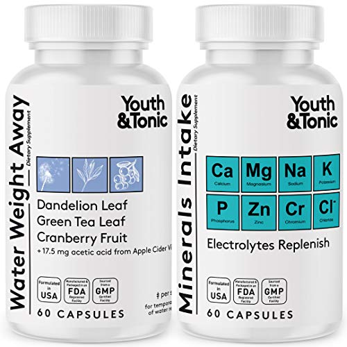 Water Weight Pills to Thin Waistline & Relief Belly Bloat Ankle & Leg Swelling + Electrolytes Support w/Potassium B6 VIT…