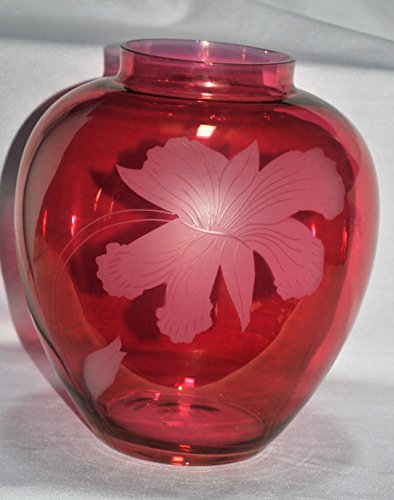 Vintage Large Cranberry Glass Vase with Etched Lily Orchid