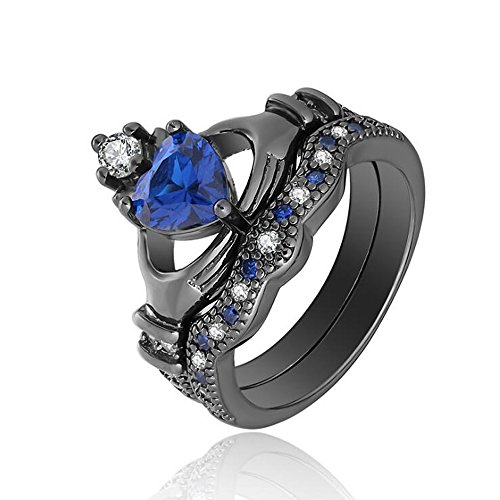 Gy Jewelry Irish Claddagh Ring Crown Heart Shape 1ct Sapphire Black Gold Filled Austria Crystal Women's Wedding Ring Sets (9) (Irish Claddagh Ring Sapphire)