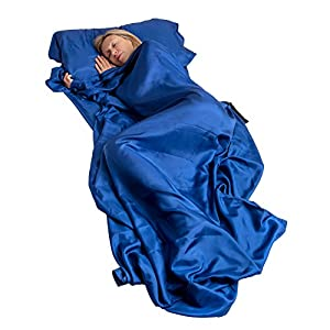 Exploren Extra Wide and Long 100% Pure Mulberry Silk Sheet Sleep More Comfortably with This Lightweight Breathable Single Sleeping Bag Liner Travel Sack Camping Sheet with in Built Pillow case