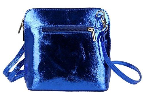 Piel Royal Blue para mujer de Handbags Bolso Girly cruzados Metallic 1w8xIz1q