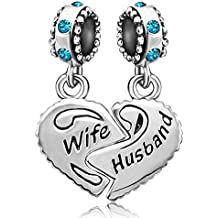 JMQJewelry Heart Wife Love Husband 12 Colors Birthstone Charms For Bracelets
