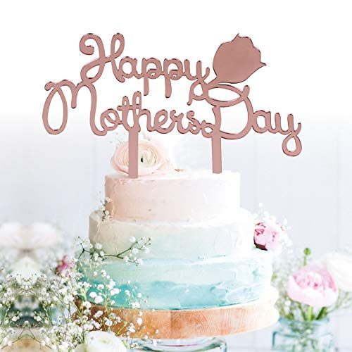 GrantParty Rose Gold Happy Mother's Day Cake Topper
