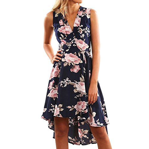 JOYFEEL Ladies❤️ Women Fancy Dresses Floral Print Front Crossover V Neck Party Dresses Pleated Casual Beach Dresses Dark Blue ()