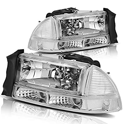 For 1997-2004 Dodge Dakota 1998-2003 Dodge Durango Headlight Assembly Headlamp Replacement with Park Signal Lamp Crystal Housing: Automotive