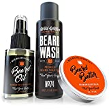 Essential Beard Grooming Kit for Men - USA Made Gift Set Soothes Irritated, Dry Skin, Reduces Acne & Grows Your Beard Faster - Beard Oil, Balm Conditioner & Shampoo Wash