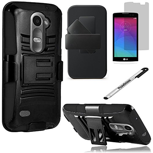 Phonelicious Hybrid Armor Dual Layer Rhino Kickstand Belt Holster Clip Combo Rugged Case Bundle with Screen Protector & Stylus for  LG Power L22C & LG Leon C40 - Black Black Rugged Holster