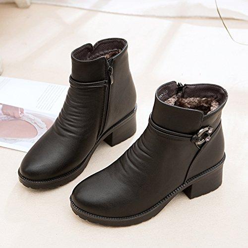 Avec Grossiers Bottes Khskx Chaudes Black Cachemire 41 Et chaussures Des Chaussures Maman xx1qw4S