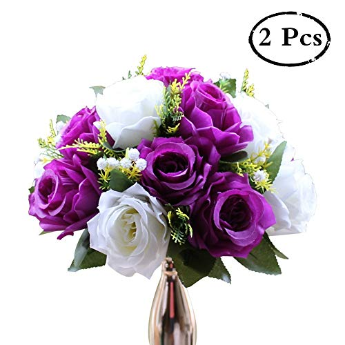 Pack of 2 Fake Flower Bouquet, Plastic Roses with Base, Suit for Wedding/party Centerpiece Road Lead Flower Rack Decorations (Purple & White)
