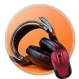Liili Round Mouse Pad Natural Rubber Mousepad Light of music big headphones on orange background Photo 5735581