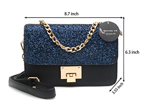 Crossbody HandBags Designer for Shoulder Navy Purse and Bag Glitter Women OH1qSwR1