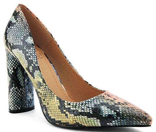 Beast Fashion Brianna-01 Woman's High Heel Pump Pointy Toed Snakeskin (10 M US)