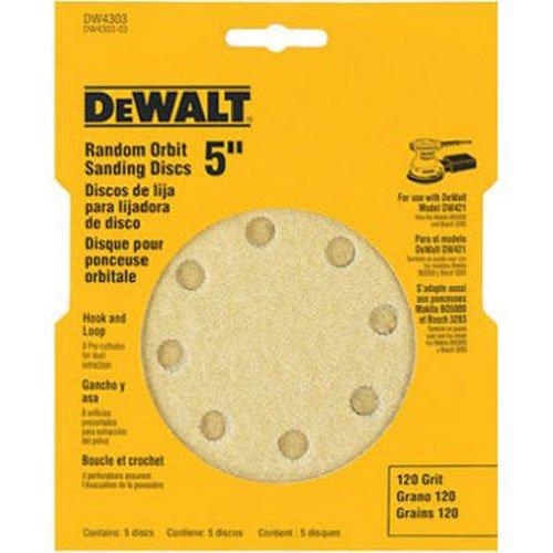 DEWALT DW4303 5-Inch 8-Hole 120-Grit Hook-and-Loop Random Orbit Sandpaper (5-Pack) Dewalt Sanding Disk