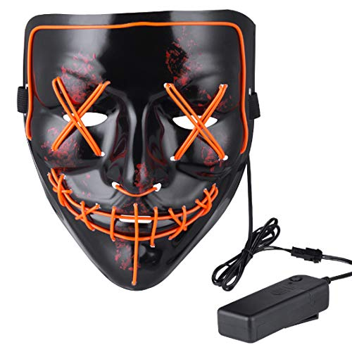 Anroll Halloween Mask LED Light Up Mask for Festival Cosplay Halloween -