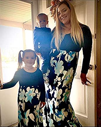 Qin.Orianna Mommy and Me Matching Maxi Dresses,Sleeveless Top Bohemia Floral Printed Matching Outfits with Pockets
